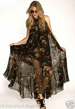 NEW Free People Juno black floral Maxi Dress Gown sheer crinkled lined S $248