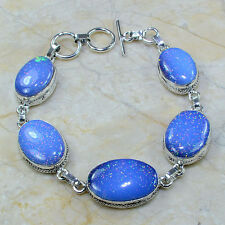 "Sparkling Dichroic Glass 100% Pure 925 Sterling Silver Bracelet 8.25"" #A54470"