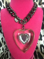 Betsey Johnson Vintage HUGE Clear Lucite Heart Thick Pewter Chain Necklace RARE