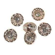 100 Pcs Gold Plated White Rhinestone Round Resin Shank Buttons Scrapbooking 13mm