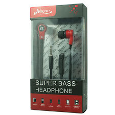 eVogue Super Bass Stereo Earbuds Headset with Microphone,Tangle Free Flat Red