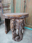 Balinese Hand Carved Elephant Coffee Side Table Unique Saur Wood Round