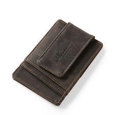 Men Crazy Horse Leather Wallet Money Clip Card Cash ID Holder with Magnetic