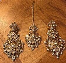 New Design Indian Pakistani Ethnic Bollywood Stone Mangtika Tika Earring Set