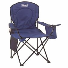 New Coleman Camping Outdoor Comfortable Oversized Blue Quad Chair With Cooler