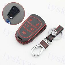 5 Button Leather Key Holder Chain Case Bag For Cadillac ATS XTS XT5 CT6 SRX CTS