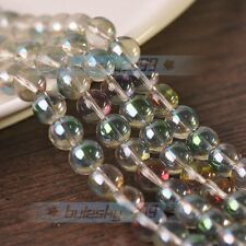 New 50pcs 8mm Electroplating Crystal Glass Round Loose Spacer Beads Rose Green