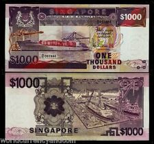 SINGAPORE $1000 P25 1984 SHIP FISH MAP UNC BRUNEI CURRENCY MONEY BILL RARE NOTE