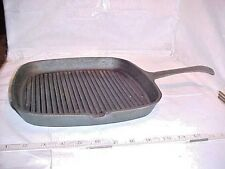 """Cast Iron Grill Square Pan 1 Handle 1 SIDE SPOUT  11 3/8""""  W X 17 5/8""""  W/HANDLE"""