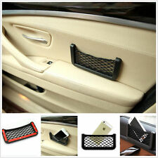 1X Black Auto Car Storage Mesh Resilient String Bag Holder Pocket Organizer