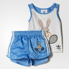 Adidas x MINI RODINI Shorts Set Blue BK5514 Size 3T NEW 100% Authentic