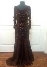 NEW Tadashi Shoji Brown Sequin Ruched Mermaid Gown M