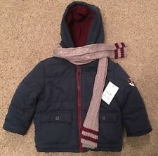 BNWT Boys C&A Coat & Scarf Navy, Grey & Burgandy Size 92cm 2 Years