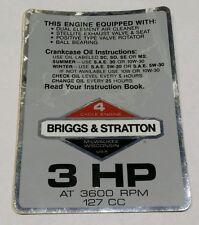 """Vintage Briggs & Stratton 3 HP - 127 CC Engine Decal / Sticker 5"""" by 3.5"""""""