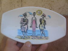 Small Vintage Bone China Trinket Pin Dish Beach Gay 90's Maureen Tanner Eng TLC