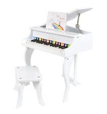 Mini Kinder Klavier Kids Piano Deckel aufklappbar mit Stuhl Hocker in Weiß NEU
