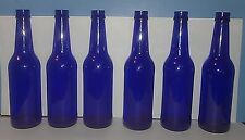 Six (6) Cobalt Blue Glass Beer Bottles For Vases, Crafts, Bottle Trees