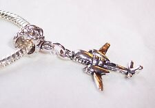 Double Engine Prop Plane Airplane Dangle Bead fits European Style Charm Bracelet