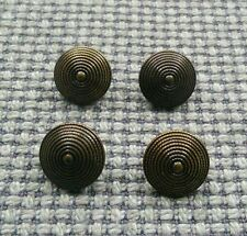 4 x Gold Tone Tarnished Metal Look Buttons 15mm Vintage Gothic Steampunk Style