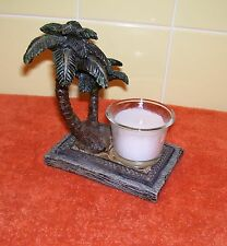 Unique Two Palm Trees Decor Candle Stand with New Candle in Glass Container