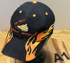 SAFE RIDERS SNOWMOBILE INSTRUCTOR HAT BLACK WITH ORANGE FLAMES ADJUSTABLE VGC