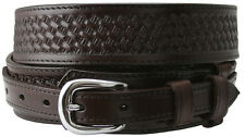 "James Western Basketweave Genuine Leather Durable Ranger Belt, 1-1/2"" Wide"