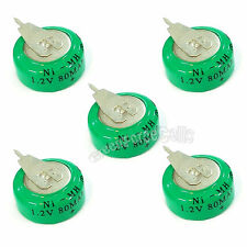5 pcs Ni-MH 80mAh 1.2V button Rechargeable Battery backup power with tab