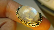 STERLING SILVER 925 ESTATE 17MM RAINBOW MOONSTONE BAND RING SIZE 8