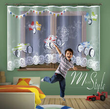 "Jardiniere Net Curtain Monster Trucks Children  W=118"" (300cm), L= 63"" (160cm)"