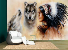 Native American Wolves Art Wall Mural Photo Wallpaper GIANT WALL DECOR