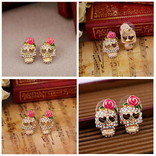 Cool Betsey Johnson Pink Rose Skeleton Skull Stud Charming Earrings