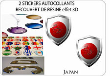 2 X STICKERS COVERED WITH RESINATED WINE BLAZON 3D EFFECT 60 mm X 50 mm JAPAN