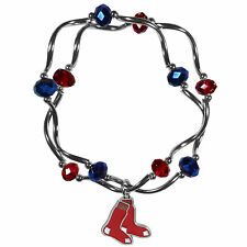 MLB Boston Red Sox Crystal Bead Bracelet Gameday Charms Team Stretch Jewelry