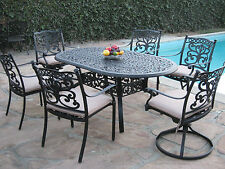 Outdoor Patio Furniture 7 Piece Aluminum Dining Set with 2 Swivel Rockers CBM