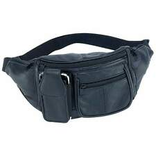 Black Solid Leather Fanny Pack 6 Pocket Travel Waist Belt Bag Cell Phone Holder