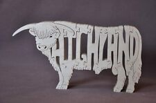 Scottish Highland Cattle Cow Bull or Calf  Choice Wood Farm Animal Puzzle Toy