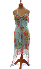 Hale Bob Green Floral Print Beaded Silk Crinkle Halter Dress Handkerchief Hem XS