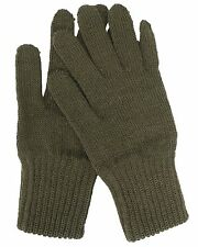Genuine Belgian Army Issue Combat Winter Knitted Wool Gloves - Olive - Unused
