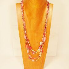 """28"""" Classic Vintage Multi Strand Pink Gold Handmade Seed Bead Necklace"""