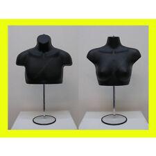 Black Male Female W/Metal Base Mannequin Forms Set - Upper Torso T-Shirt Display