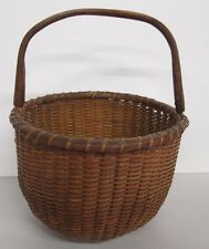"FINE 9.5"" ANTIQUE NANTUCKET LIGHTSHIP BASKET W/SWING HANDLE SIGNED E.A.S. # 2"