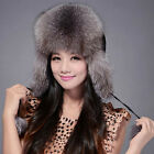 FUR STORY 060101 New Womens Winter Warm Hats Real Fox Fur Hat Bomber Cap
