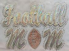 Iron On Transfer Applique Rhinestone and Sequin Silver Football Mom