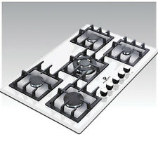 Premier Range 70cm 5 Ring White Glass Built-In Gas FSD Hob D-Series Pro