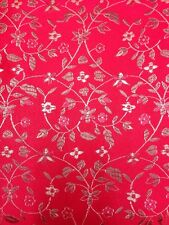 Brocade Chinese floral blossom oriental asian  Red / Gold Fabric