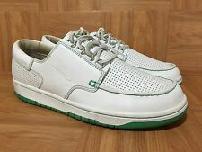 RARE�� Nike Kad Jibe Moccasin Boat Dunk Low White Leather Green 10.5 313264-142