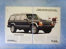 QUATTROR992-PUBBLICITA'/ADVERTISING-1992- JEEP CHEROKEE LIMITED -2 fogli