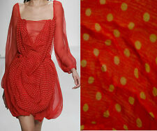 S-04999 Exquisite Italian Designer 100% Silk Polka Dot Fabric In Red By The Yard