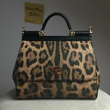 New DOLCE & GABBANA Miss Sicily Leopard Aminal Print Black Bag Handbag Purse