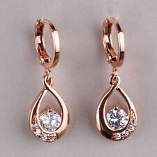 18k rose gold filled eternity White Topaz lady Top Fashion dangle earring
